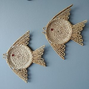 Other - Vintage wicker fish wall decor